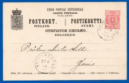 FINLAND 1890 PREPAID CARD 10 PENNI HG 25 USED 1892 KRISTINESTAD TO JOROIS  VERY GOOD CONDITION - Ganzsachen