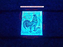 FRANCE ANNEE 1965  N° 1331A COQ DE DECARIS PHOSPHORESCENTE OBLITERE 6 SCANNE DESCRIPTION - Errors & Oddities