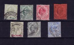 Gibraltar 1904/06 KEVII Selection Wmk Mult Crown CA Used (4185) - Gibraltar