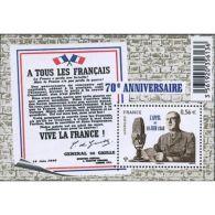 France Feuillet N°4493 70ème Anniversaire De L'appel Du 18 Juin 1940 - Blocs & Feuillets