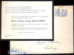 Doodsbrief Faire Part Overlijden - Adriaan Umans - King Williams Town Zuid Afrika - Ongeval 1965 - Overlijden