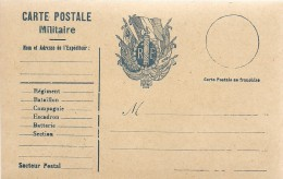 14/18 *CARTE FRANCHISE ARMEES REPUBLIQUE *CORRESPONDANCE MILITAIRE* Armoiries R.F. & DRAPEAUX EN BLEU  * - Guerre 1914-18