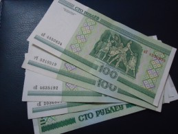 5 PIECES 2000 BELARUS 100 RUBLE - aUNC -