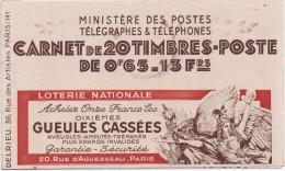 CARNET - N° 365 TYPE PAIX 65 C Bleu - C5 - Série 38 - BYRRH Gin - BYRRH Sec - C.C. POSTAL - Carnets