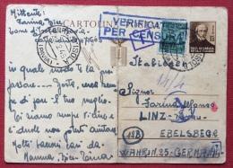 INTERO POSTALE MAZZINI  + 25  DA TORRE D'ISOLA (PAVIA) PER LA GERMANIA CON CENSURA E VARI TIMBRI - PIEGA CENTRALE - 1944-45 République Sociale