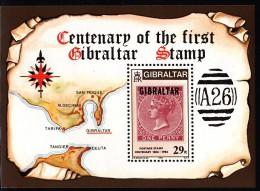 Gibraltar MNH Scott #490 Souvenir Sheet 29p Gibraltar #2 - Centenary Of First Postage Stamp - Gibraltar