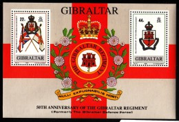 Gibraltar MH Scott #548 Souvenir Sheet Of 2 Gibraltar Regiment 50th Anniversary - Gibraltar