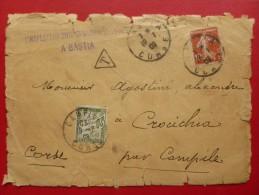 LETTRE TIMBRE TAXE GRIFFE INSPECTEUR DIVISIONNAIRE DES DOUANES A BASTIA 1909 - Marcofilia (sobres)