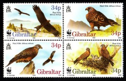 Gibraltar MNH Scott #716 Block Of 4 Red Kite - WWF - Gibraltar