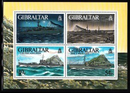 Gibraltar MNH Scott #714 Souvenir Sheet Of 4 Warships - WWII - Gibraltar