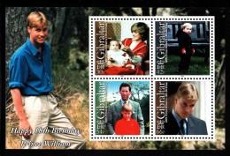 Gibraltar MNH Scott #845a Souvenir Sheet Of 4 Prince William, Princess Diana, Prince Charles - Prince William's 18th - Gibraltar