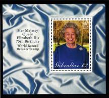 Gibraltar MNH Scott #880 Souvenir Sheet 2pd Queen Elizabeth II 75th Birthday - Gibraltar