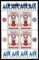 Gibraltar MNH Scott #329a Souvenir Sheet Of 4 25p Arms Of Gibraltar, US Bicentennial Emblem - Gibraltar