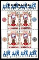 Gibraltar MH Scott #329a Souvenir Sheet Of 4 25p Arms Of Gibraltar, US Bicentennial Emblem - Indépendance USA