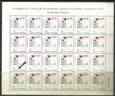 ANDORRA- HOJA ENTERA 24 SELLOS VARIEDAD   PUNTO ROJO DEBAJO DE LA PATA..(C.H.C.01.16) - Unused Stamps