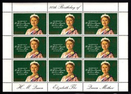 Gibraltar MNH Scott #393 Minisheet Of 9 15p Queen Mother's 80th Birthday - Gibraltar