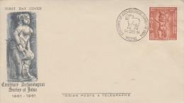 Enveloppe  1er  Jour  INDE   Centenaire  Du  Service  D' Archéologie   1961 - FDC