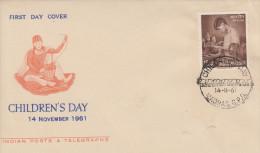 Enveloppe  1er  Jour  INDE   Journée  De  L´ Enfance   1961 - FDC