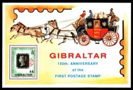 Gibraltar MNH Scott #573 Souvenir Sheet 44p 150th Anniversary Of The Penny Black - Gibraltar