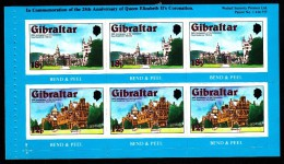 Gibraltar MNH Scott #368a Set Of 2 Booklet Panes Royal Residences - 25th Anniversary Coronation - Gibraltar