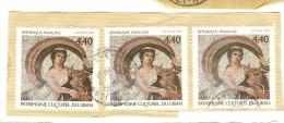 France Y&T Oblitéré N° 3224 1999  - Patrimoine Culturel Du Liban : Mosaïque Femme - 3 Timbres Cachet Rond - France