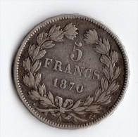 5 Francs 1870 A Cérès Sans Légende - France