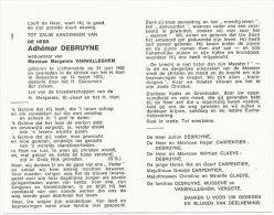 DEBRUYNE Adhémar °Lichtervelde 1902 +Roeselare 1975 Wednr. VANWALLEGHEM Margareta - Religione & Esoterismo