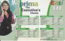 """BRUNEI - Lady On Phone, Prima The Executive""""s Choice, DST Recharge Card $40, Exp.date 31/03/08, Used - Brunei"""