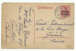 Entier Postale Allemand Surchargé Belgien 10 Centimes, Obl. Mecheln Pour La Croix Rouge à Genève - WW I