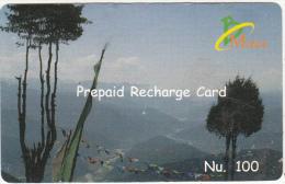BHUTAN - Landscape, Bhutan Mobile Prepaid Card Nu.100, Used