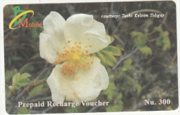 BHUTAN - Flower, Bhutan Mobile Prepaid Card Nu.300, Used