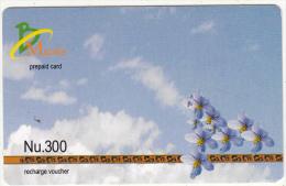BHUTAN - Flowers, Bhutan Mobile Prepaid Card Nu.300, Used - Butan
