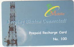 BHUTAN - Antenna, Bhutan Mobile Prepaid Card Nu.100, Used - Bhutan