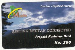 BHUTAN - Landscape, Bhutan Mobile Prepaid Card Nu.200, Used