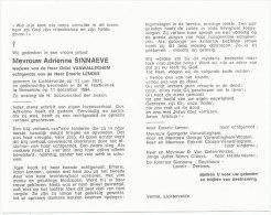 SINNAEVE Adrienne °Lichtervelde 1911 +Roeselare 1984 Wed. VANWALLEGHEM Odiel - Echtg. LENOIR Emeric - Religione & Esoterismo