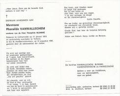 VANWALLEGHEM Pharaïlde °Lichtervelde 1910 +Torhout 1990 Wed. BLOMME Theophile - Religione & Esoterismo