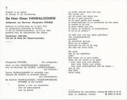 VANWALLEGHEM Omer °Lichtervelde 1914 +Torhout 1991 Echtg. STRUBBE Margaretha - Religione & Esoterismo