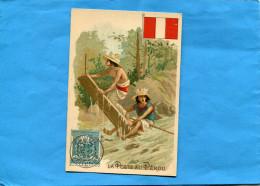 CHROMO-IMAGE-La Poste Au Pérou - - Drapeau Et Illustration  Timbre  De 1908- - Trade Cards