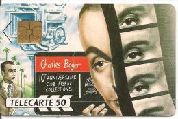 CARTE°-PUCE-PRIVEE-PUBLIC- 50U-EN371-GEMA-05/92-FIGEAC-CHARLES BOYER-R°Laqué-UTILISE-TBE - France