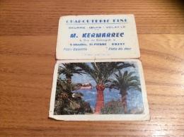 "Calendrier 1962 ""Charcuterie KERMARREC BREST (29) / Une Vue D'Antibes (06) Photo Trubert Nice"" (9,4x13cm) - Petit Format : 1961-70"