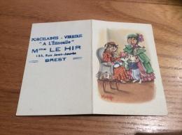 """Calendrier 1955 """"A L'Etincelle LE HIR BREST (29) / Illustration Matéja (chat)"""" (9x12cm) - Calendriers"""