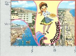 CARTOLINA VG ITALIA - RICCIONE (RN) - Panorama - Vedutine - Pizza - 10 X 15 - ANN. 1974 - Rimini