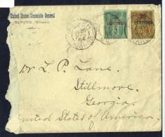 1894  Lettre De Tanger (Consulat Général Des Etats Unis)  Pour Les USA  Rare Usage Yv 1 Et 4 - Morocco (1891-1956)