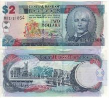 BARBADOS   2  Dollars    P66b   Signature  Warrell      1.5.2007   UNC - Barbados
