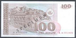 Makedonien Macedonia 100 Denari 1993 SPECIMEN – PRIMEROK (Cyrillic) UNC; P 12s - Mazedonien