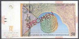 Makedonien Macedonia 50 Denari 1996 SPECIMEN – PRIMEROK (Cyrillic) UNC; P 15s - Mazedonien