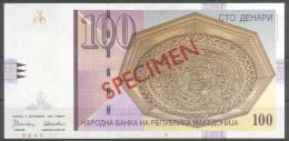 Makedonien Macedonia 100 Denari 1996 SPECIMEN – PRIMEROK (Cyrillic) UNC; P 16s - Mazedonien
