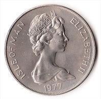 ISLE OF MAN 1977 SILVER JUBILEE APPEAL ONE CROWN COPPER NICHEL UNC FDC - Regionale Währungen
