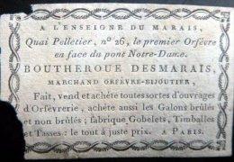 ORFEVRE  XVIII°  ACHETE TOUT OUVRAGES D´ORFEVRERIE CARTE PUBLICITAIRE  DU 18° SIECLE RARE - Vieux Papiers
