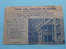 L'UNION DES AVEUGLES DE GUERRE Paris ( N° 052898 ) Avec Quelques Timbre 10 F - 1953 ( Details - Zie Foto ) ! - Documents